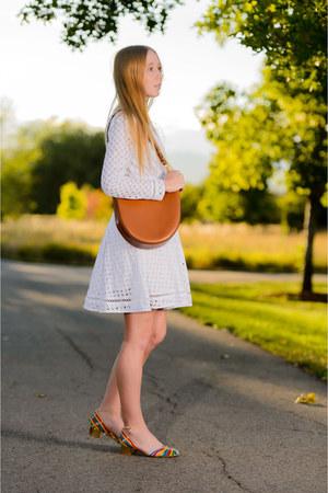 white crochet Zimmermann dress - camel gold Jennifer Meyer necklace