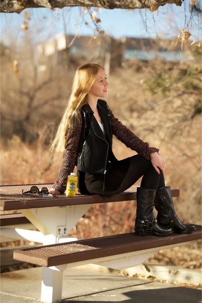black moto HARNESS boots - black moto Boucle sleeve jacket