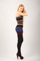navy banded tank m missoni dress - black opaque full Express tights - maroon mar