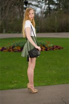 olive green knit Flare skirt - black disco tassel bag