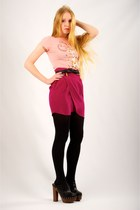 black opaque full Express tights - black Chloe belt - hot pink pearl Myne skirt