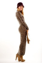 beige long sweater ALC dress - tan Jimmy Choo boots - camel wrap smythe coat