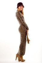 beige long sweater ALC dress - tan Jimmy Choo boots - camel wrap smythe coat