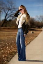 army green Ann Taylor Loft jacket - light blue anita flare siwy jeans jeans