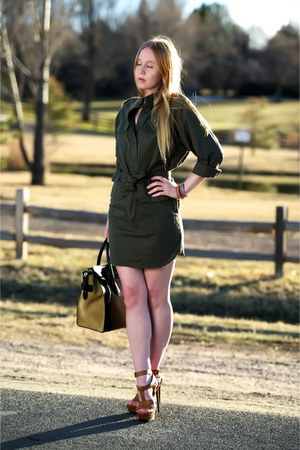 army green army NLST dress - olive green luggage Celine bag