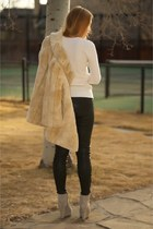 heather gray wedge suede boots - tan fur faux coat - white knit textured sweater