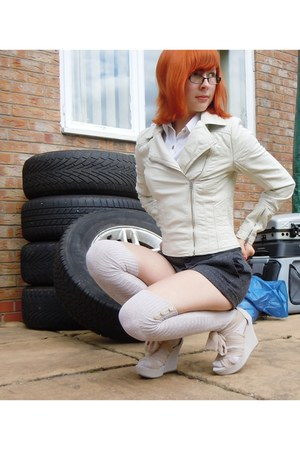 Miss Selfridge jacket - Dorothy Perkins shorts - next socks - Topshop wedges