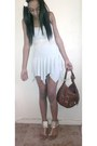 White-flowy-american-apparel-dress-brown-tote-baccini-bag