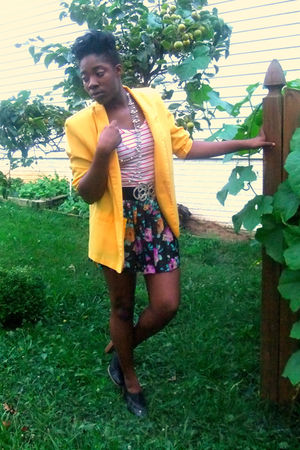 yellow Thrift Store blazer - white Forever 21 blouse - brown Forever 21 skirt -