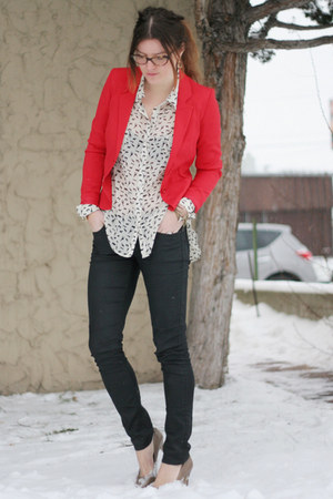 hm blazer - Target blouse - coated skinnies hm pants