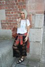 Red-topshop-shirt-forest-green-rat-boa-skirt-white-topshop-t-shirt
