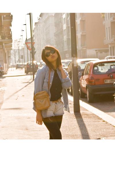 blue Bershka shorts - brown H&M belt - Prada purse - blue blouse