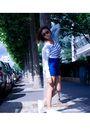 Blue-bershka-shorts-white-zara-t-shirt