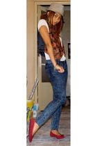 Zara hat - vintage vest - Zara jeans - shoes