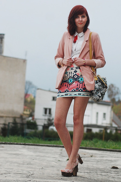 light pink H&M blazer - white H&M shirt - salmon Bershka skirt