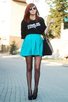 black tideshe sweatshirt - black kupbuty heels - PresKA skirt