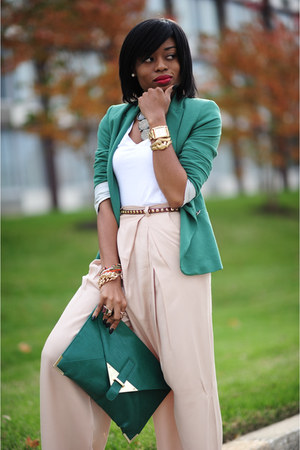 tan H&M Trend pants - green Zara blazer - green asoscom bag