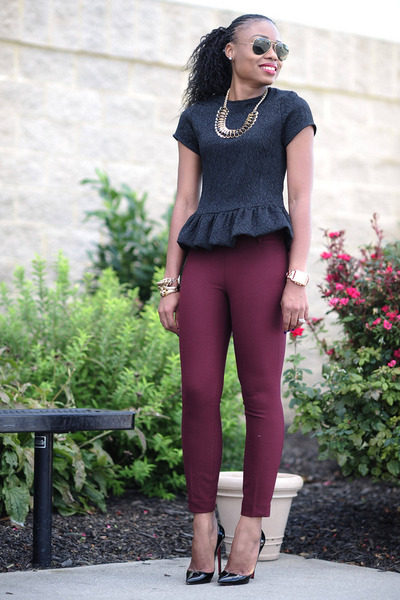 peplum Zara blouse - Jcrew pants - Christian Louboutin pumps