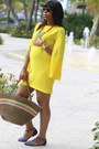 Yellow-zara-dress-black-zara-heels-blue-zara-flats