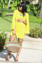 yellow Zara dress - black Zara heels - blue Zara flats