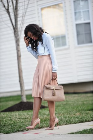 light blue Zara shirt - beige Aldo bag - peach Zara skirt