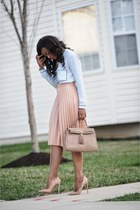 light blue Zara shirt - beige Aldo bag - peach Zara skirt