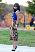 leopard print asoscom skirt - asos top - Christian Louboutin pumps