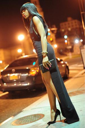 black Aqua dress - black clutch H&M bag - black Christian Louboutin pumps