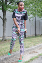 green tribal asoscom pants - dark gray Zara bag