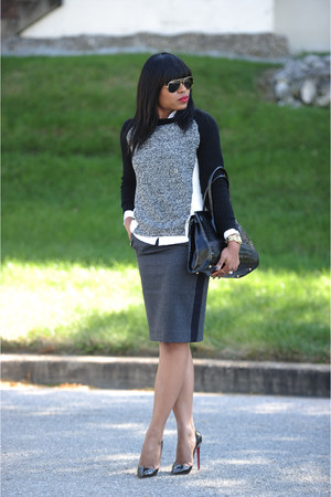 charcoal gray Express sweater - gray JCrew skirt