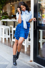 Black-sam-edelman-boots-light-blue-h-m-top-navy-msgm-skirt