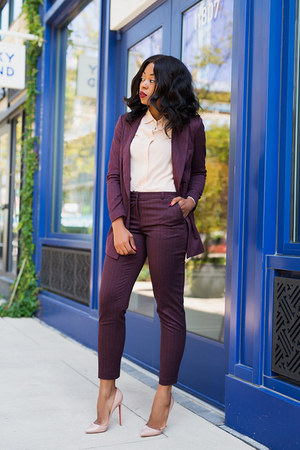 nude shirt - crimson blazer - crimson pants - tan pumps