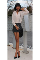 neutral sheer H&M shirt - black polka dot H&M shorts - black sam edelman heels