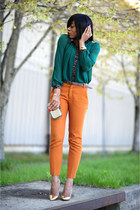 forest green romwe blouse - carrot orange Zara pants - gold Zara heels