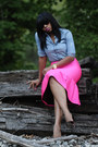 Hot-pink-asoscom-skirt-blue-denim-jcrew-top
