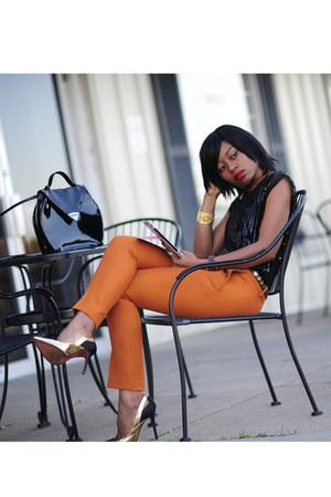 orange Zara pants - black vintage bag - gold Zara heels