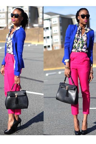 floral H&M blouse - Zara blazer - Aldo bag - Aldo pumps
