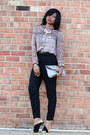 Black-h-m-pants-dark-brown-snake-print-h-m-blouse-black-zara-heels