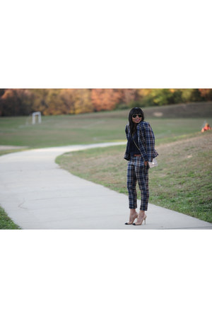 navy checkered asos blazer - dark brown checkered asos pants
