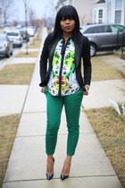 JCrew pants - floral Target blouse - Christian Louboutin heels