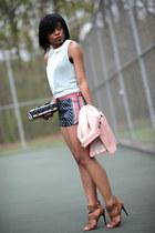 navy prints Zara shorts - nude H&M blazer - aquamarine Zara blouse