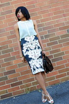 navy floral H&M skirt - black thrifted vintage bag - silver Zara heels
