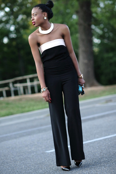 black jumpsuit Zara pants - dark green asos bag - camel H&M Trend necklace
