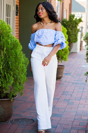 light blue top - white pants - tan sandals