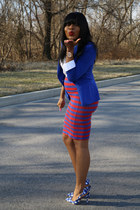 blue Zara blazer - ruby red bodycon Zara skirt - blue checkered Miu Miu heels