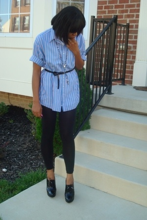 bf borrowed shirt - H&M belt - Express tights - Michael Kors shoes