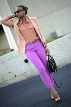 light purple Jcrew pants - neutral H&M Trend blazer - bronze Forever 21 blouse
