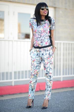 off white floral H&M shirt - periwinkle floral H&M pants