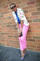 white floral print Zara blazer - hot pink Jcrew pants - blue Miu Miu heels