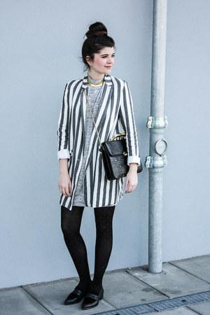 black TK Maxx shoes - silver TK Maxx dress - charcoal gray Zara blazer